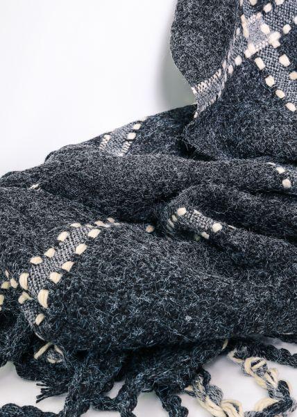 Großkarierter Schal, dunkelgrau