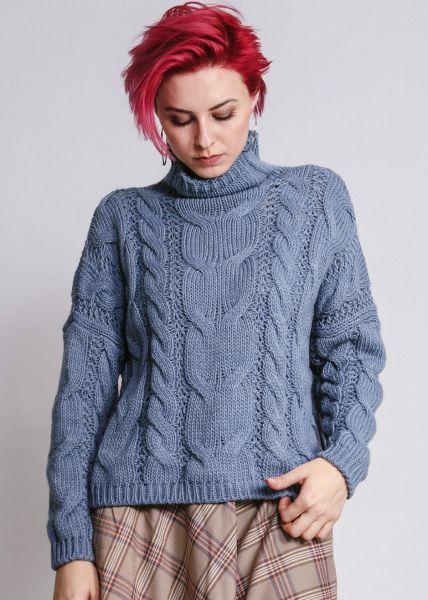Pullover mit Zopfmuster, blau