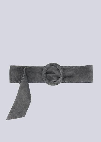 Taillengürtel in Veloursleder, grau