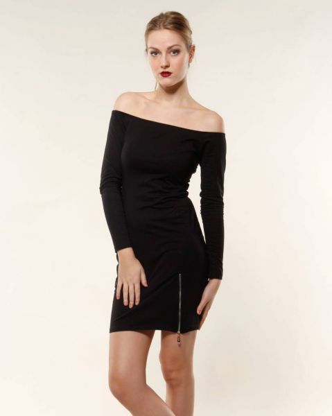 Offshoulder Kleid, schwarz
