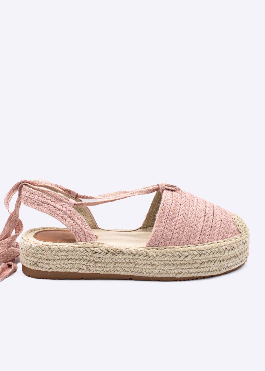 Espadrilles-Sandalen mit Bindeband, rosa