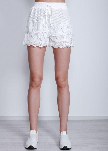 Shorts aus Spitze, weiß