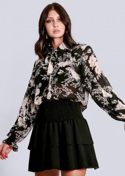 Volants-Bluse, schwarz/creme