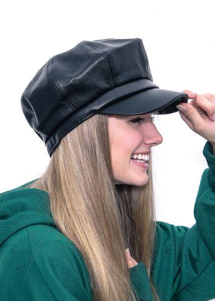 Bakerboy Mütze aus Kunstleder, schwarz