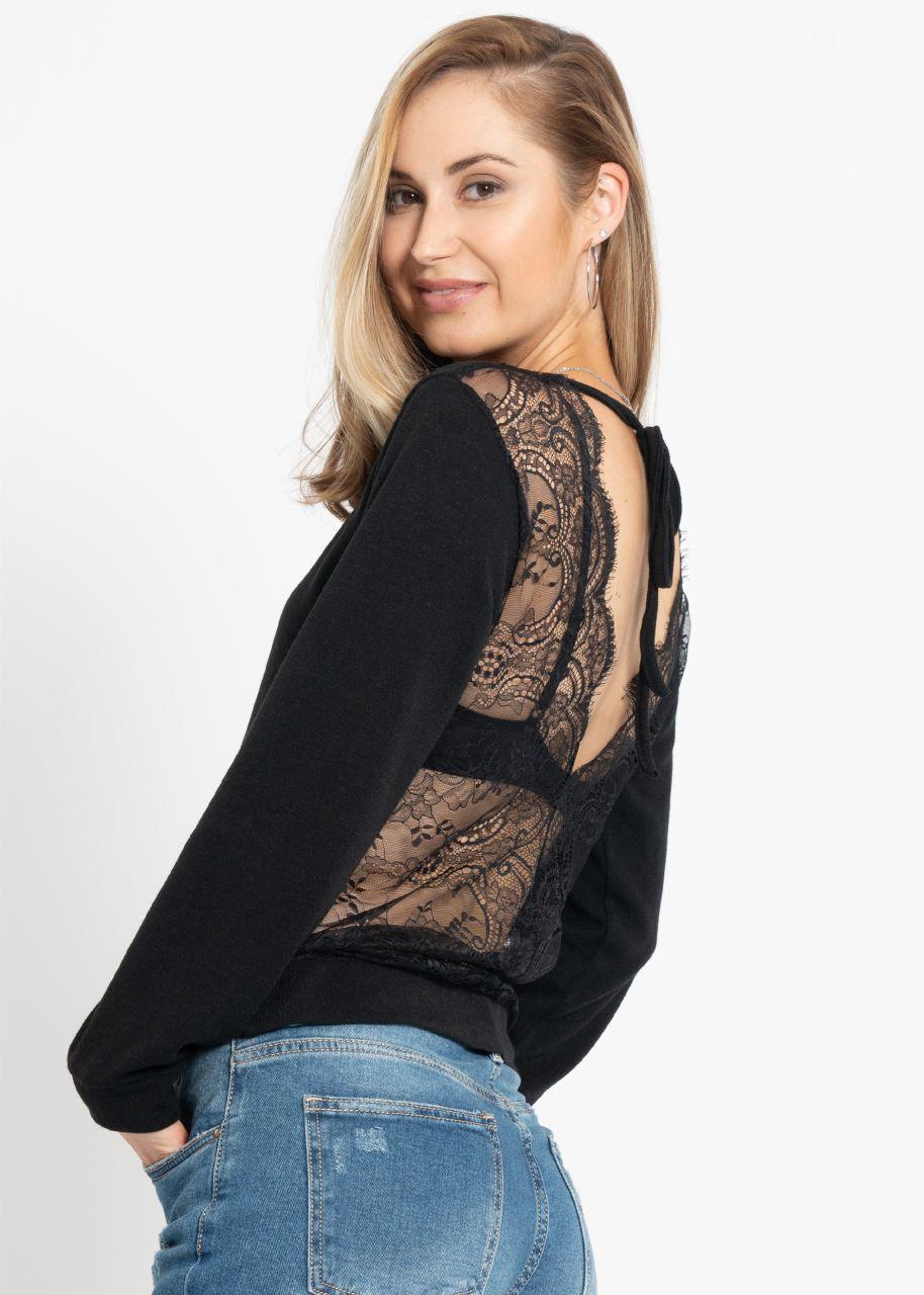 Pullover mit Spitzenrücken, schwarz