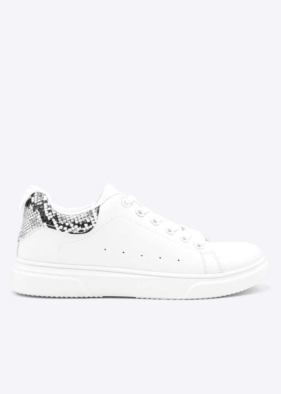 Sneaker mit Snake-Ferse, weiß