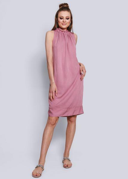 Shiftkleid mit gerüschtem Kragen, pink