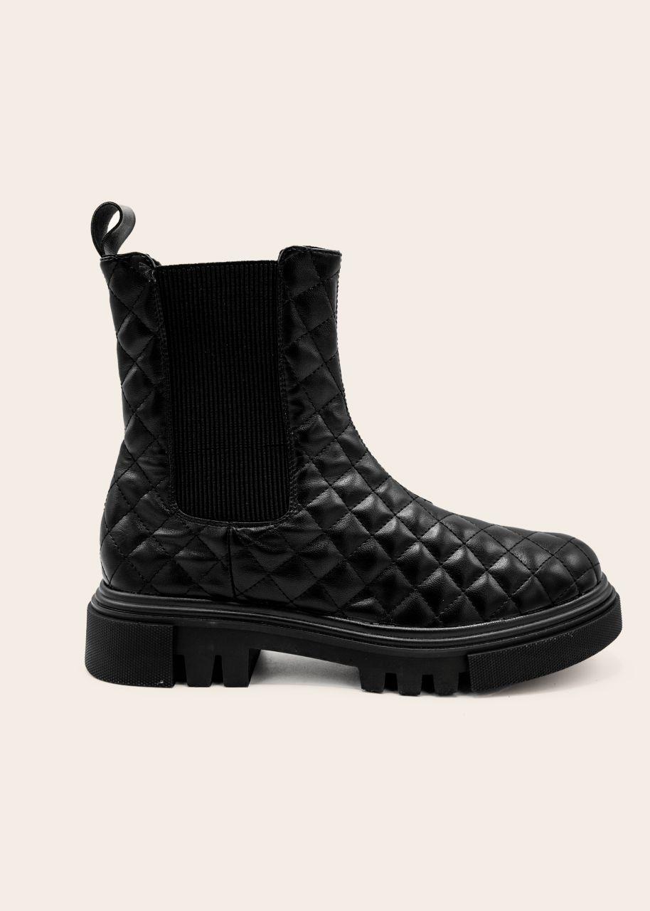 Plateau-Boots mit Steppmuster, schwarz
