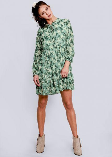 Hängerchenkleid mit Blumen-Print, grün