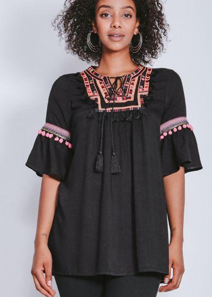 Tunikabluse mit besticktem Plastron, schwarz