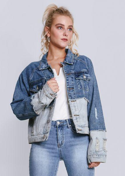 Zweifarbige Jeansjacke, blau