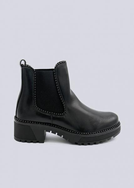 Chelsea-Boots mit schwarzen Perlchen, schwarz