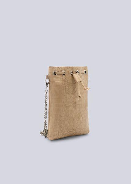 Gürteltasche/Brustbeutel in Snake-Print, beige