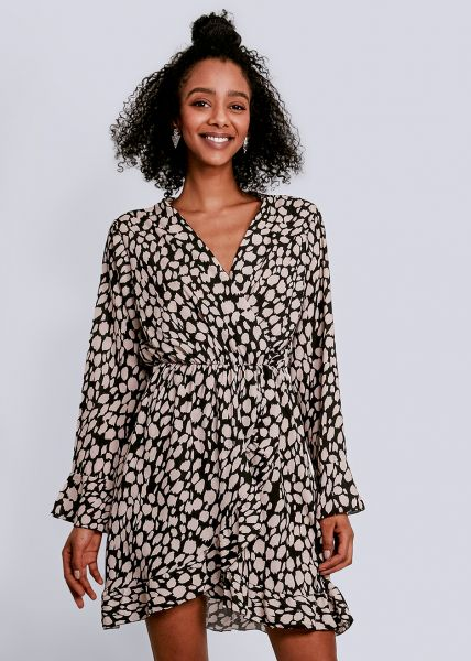 Kleid mit Print und Wickel-Optik, schwarz
