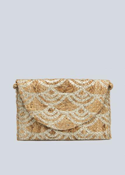 Überschlagtasche aus Jute, beige