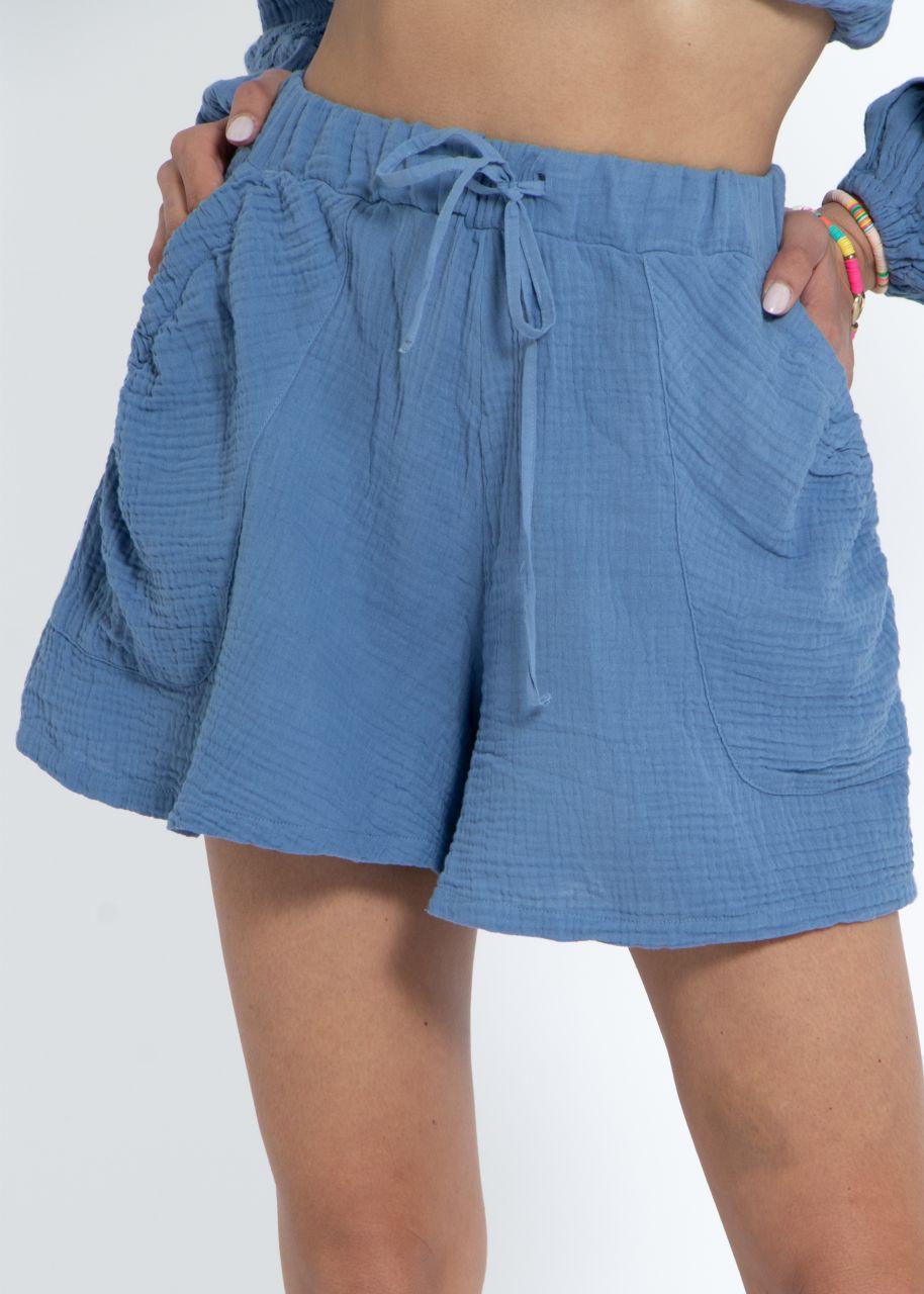 Ausgestellte Musselin Shorts, blau