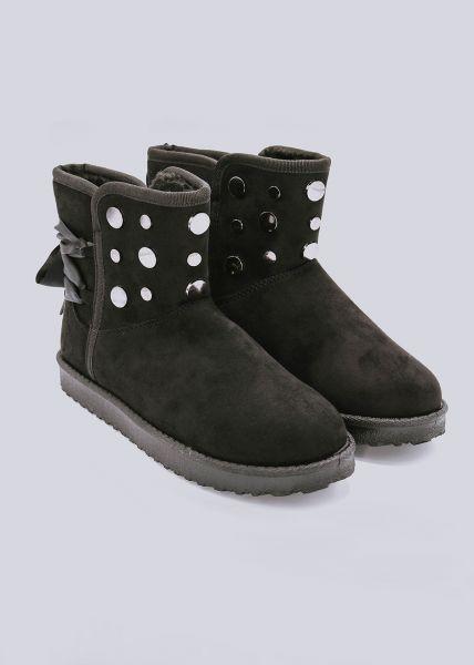 Fell-Boots mit Nieten, schwarz
