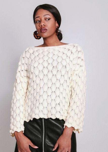 Pullover mit Struktur, weiß