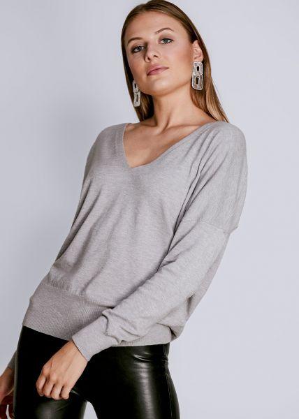 Pullover mit tiefem V-Ausschnitt, grau