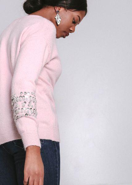 Pullover mit Pailletten, rosa