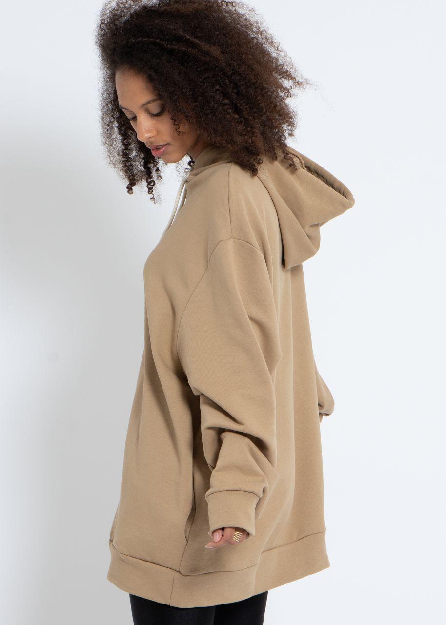 Oversize Hoodie mit Seitentaschen, camel