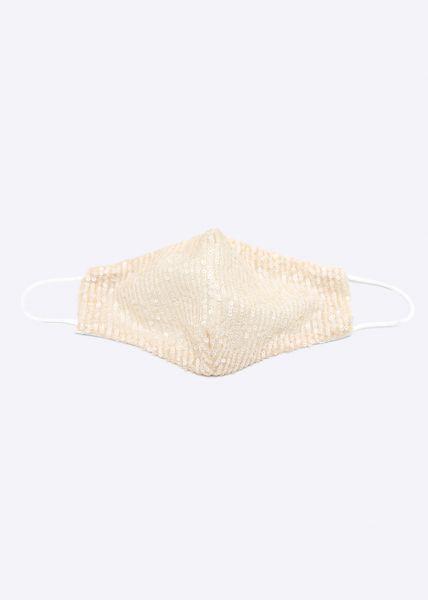 Stoffmaske mit Pailletten, beige