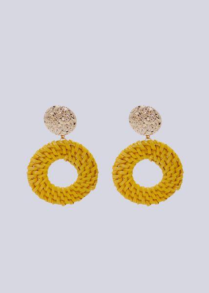 Ohrstecker mit gelben Bastanhängern, gold