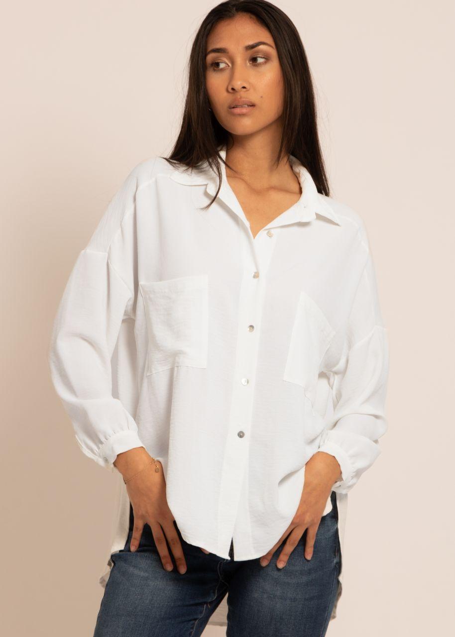 Oversize Hemdbluse mit Tasche, offwhite
