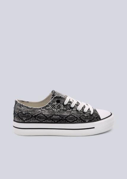 Sneaker mit Plateau, Snake dunkelgrau