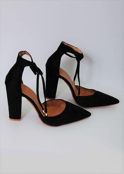 High-Heels mit Schnürung, schwarz