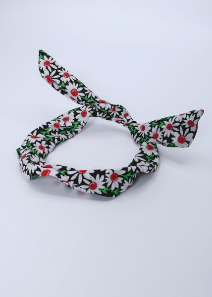 Geblümtes Haarband mit Draht, schwarz