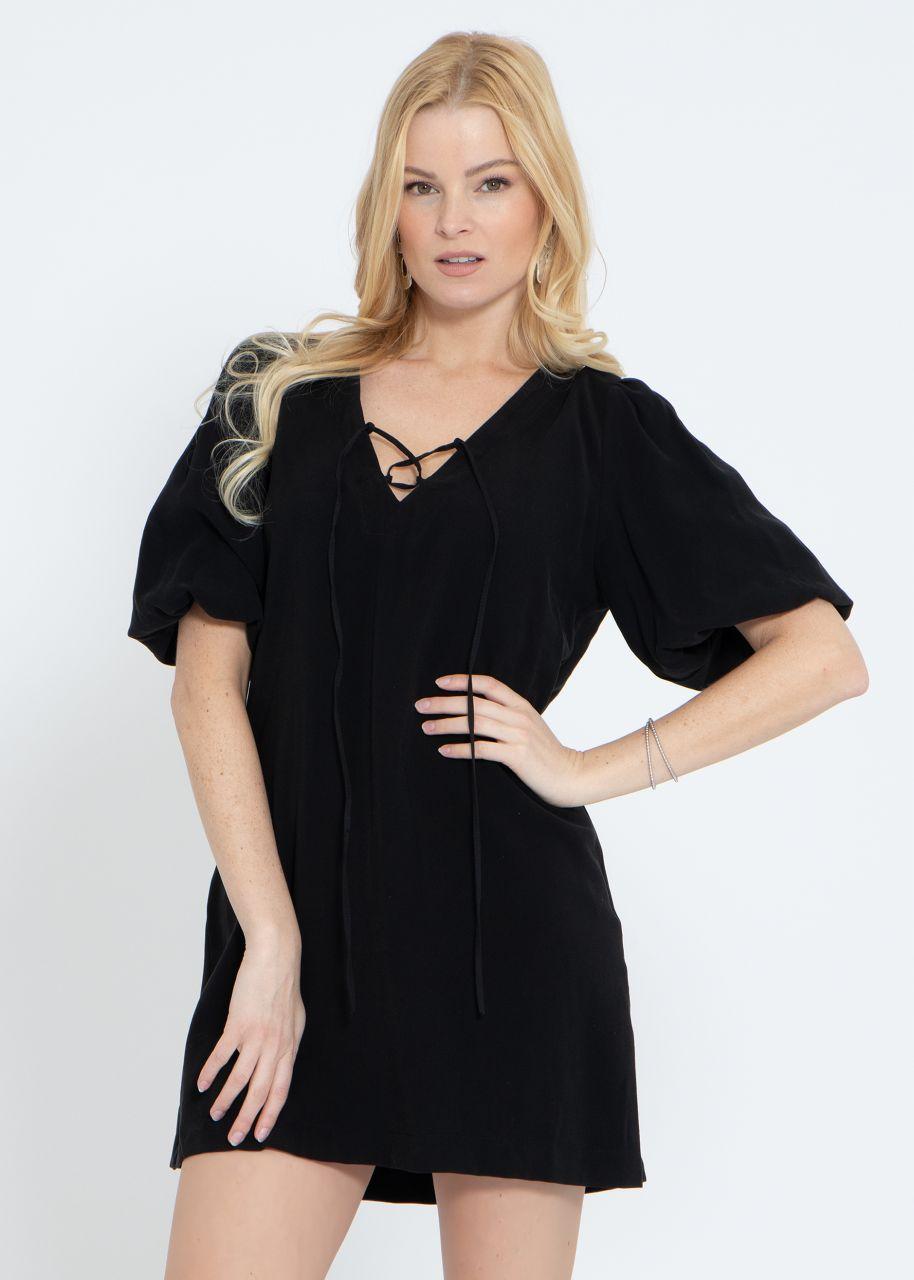 Mini Kleid mit voluminösen Ärmel, schwarz