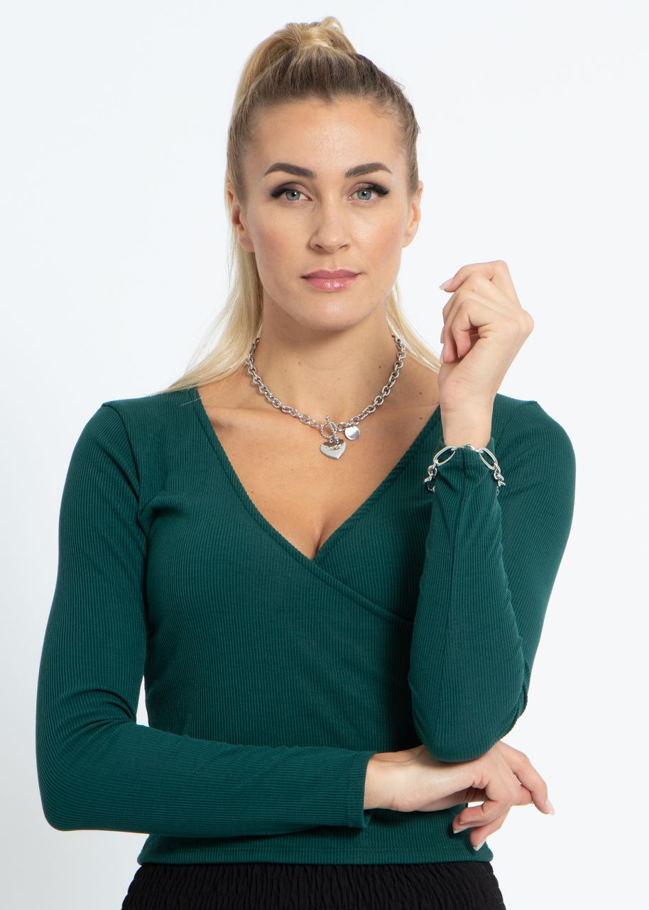 Jersey-Shirt mit Wickel-Optik, dunkelgrün