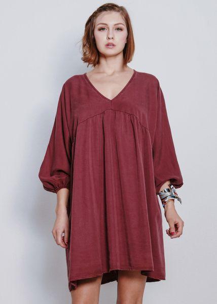 Tunika-Kleid mit V-Ausschnitt, weinrot