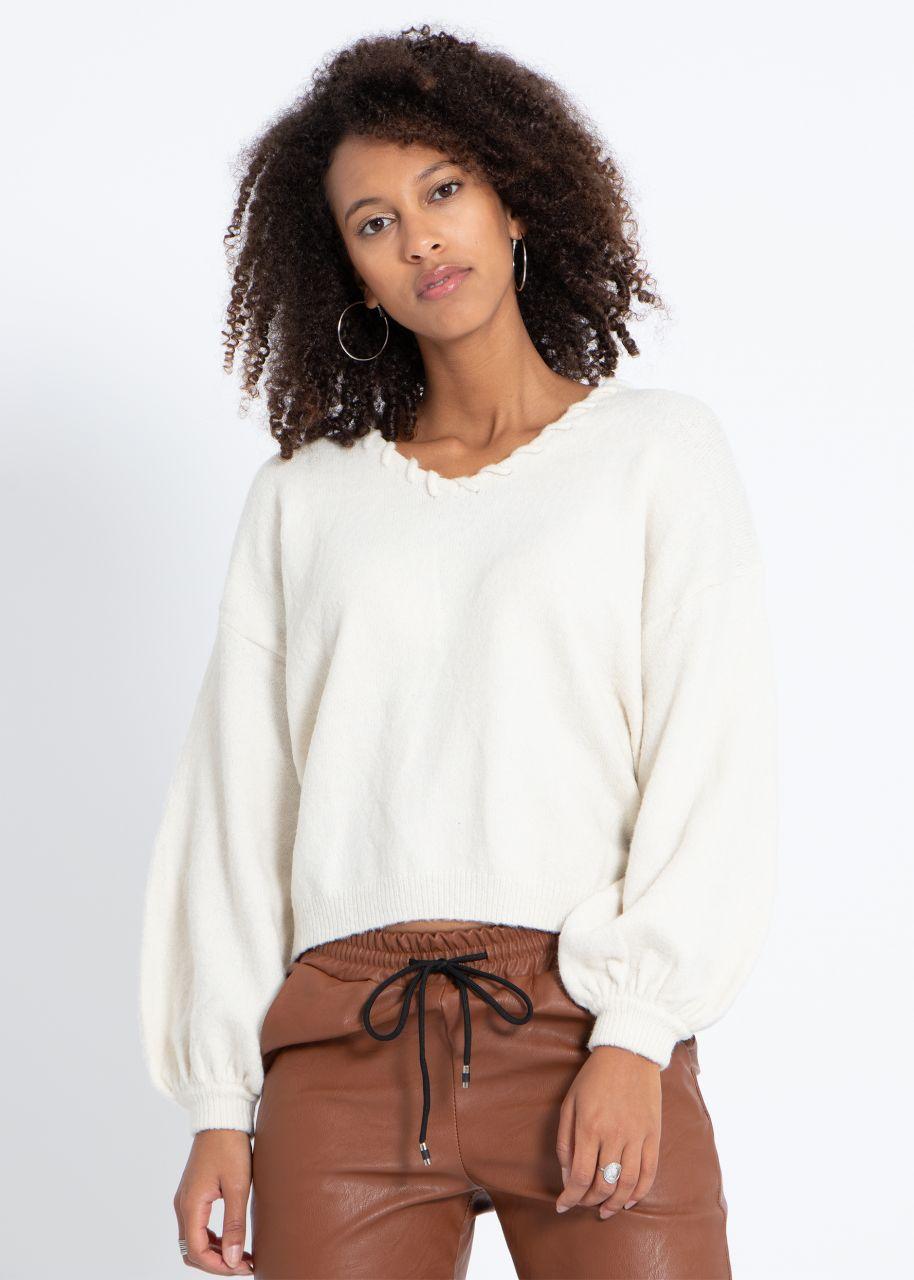 Pullover mit V-Ausschnitt, offwhite