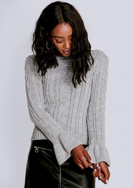 Zopf-Pullover mit Volantsärmel, grau
