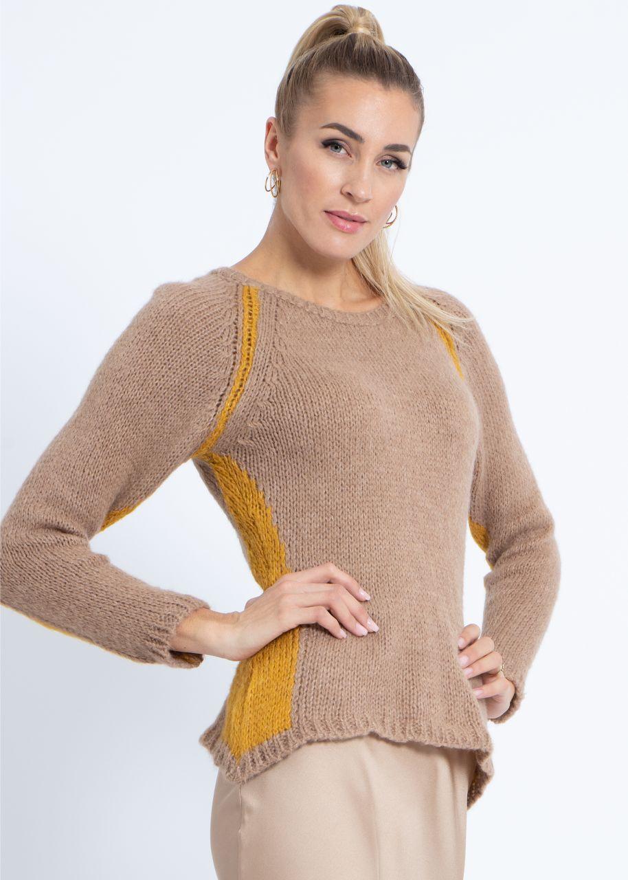 Pullover mit gelben Einsätzen, camel