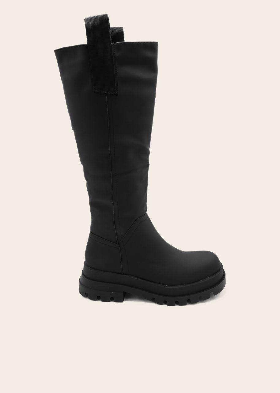 Kniehohe Stiefel mit seitlichen Laschen, schwarz