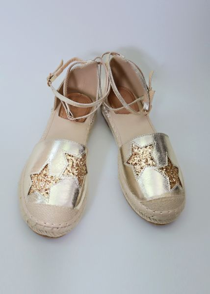Espadrilles-Sandalen mit Sternen, gold