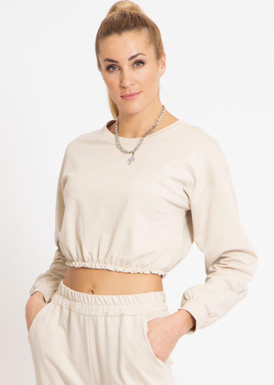 Crop Lounge-Shirt, beige
