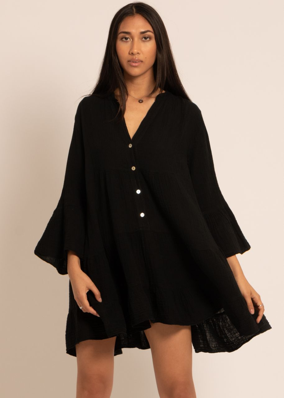 Musselin-Kleid, schwarz