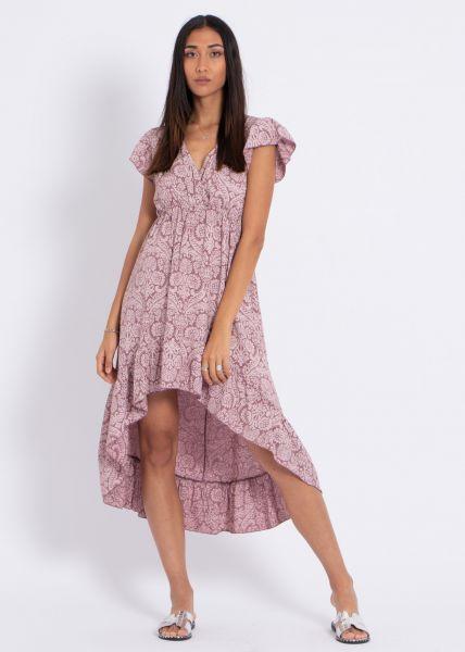 Vokuhila Kleid mit Print, dunkelrosa