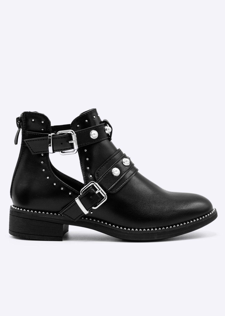 Cut-Out Booties mit Nieten und Perlen, schwarz