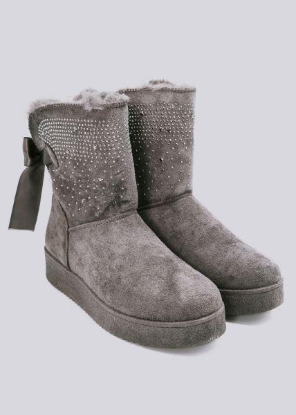 Fell-Boots mit kleinen Nieten, grau