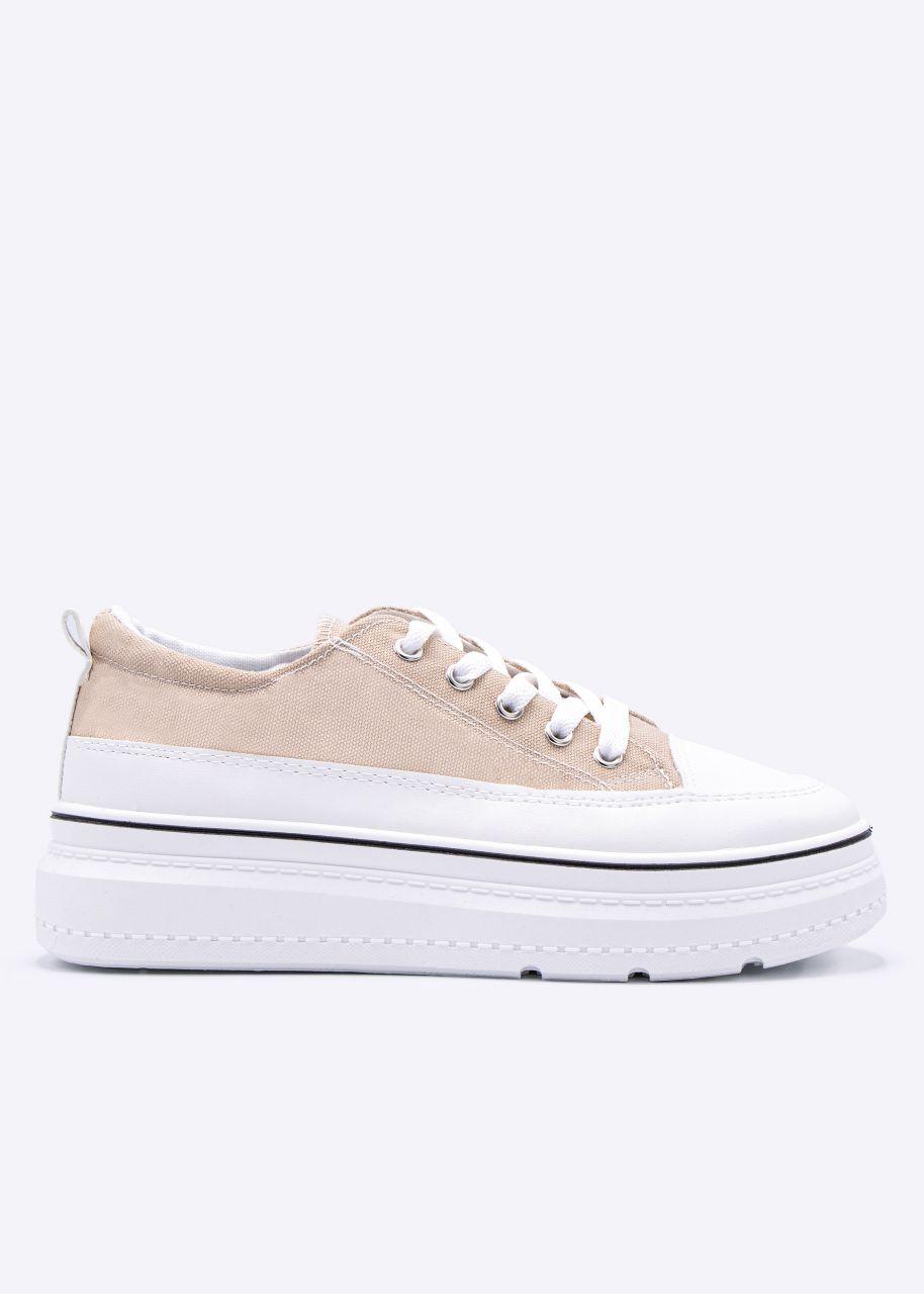 Plateau-Sneaker mit weißer Sohle, beige