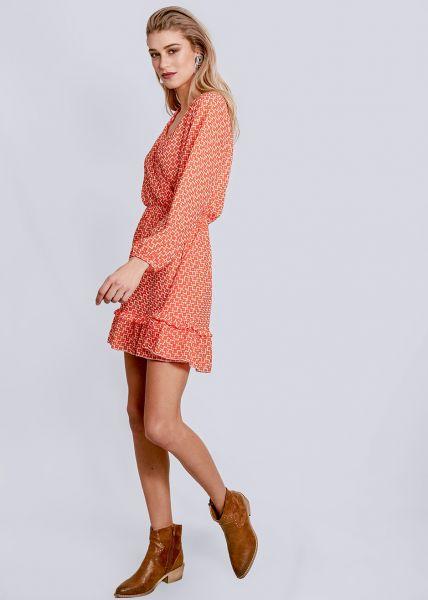 Kleid mit Wickel-Optik und Volants, orange/offwhite