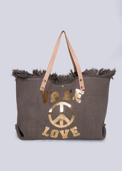 Shopper FREE LOVE, grau