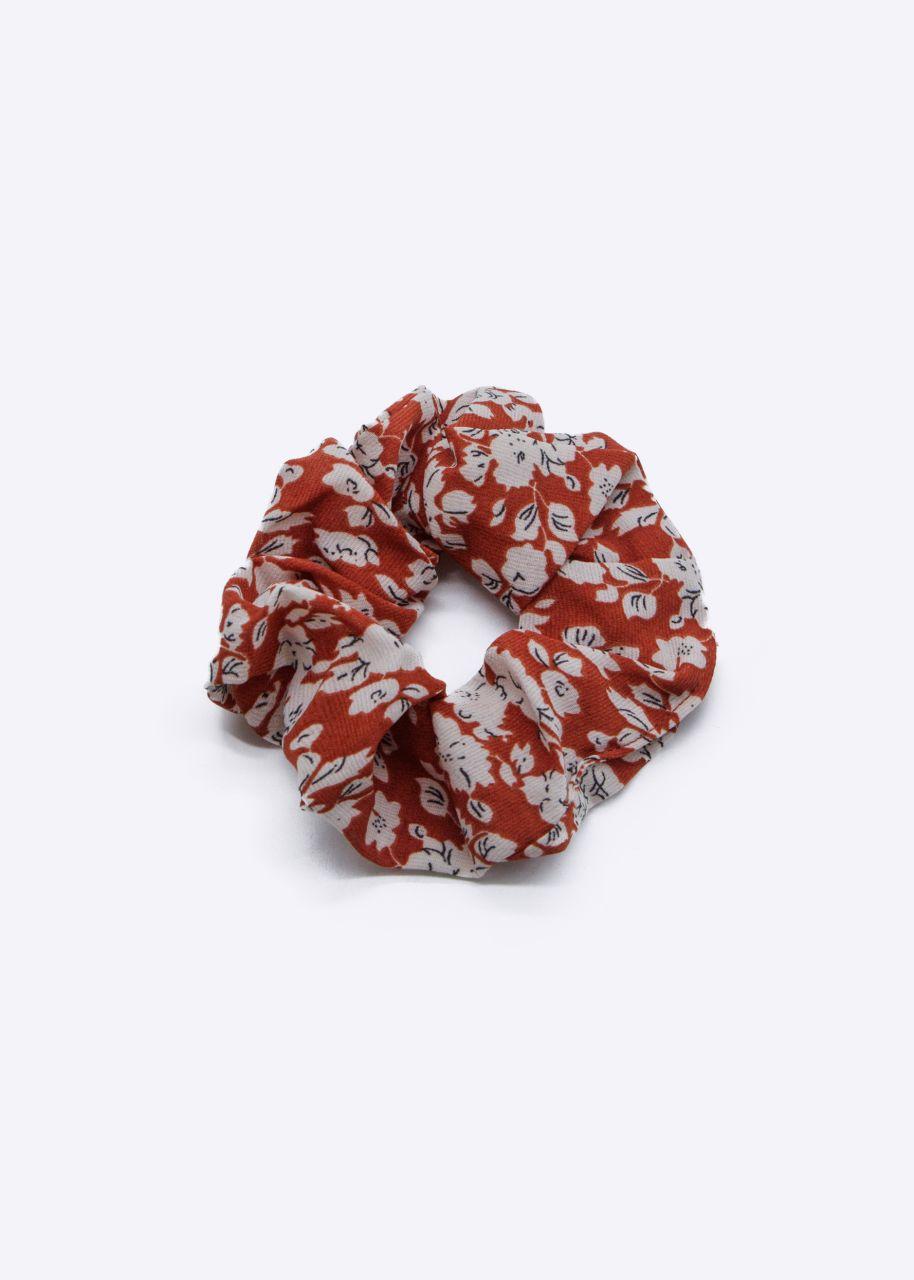 Scrunchie mit Blumen-Print, rot
