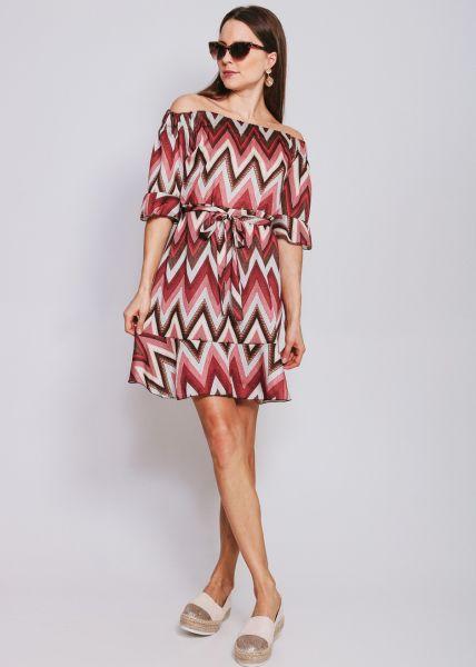 Schulterfreies Kleid in Zick-Zack Print, koralle