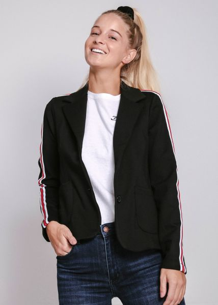 Jersey-Blazer mit Streifen, schwarz